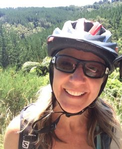 Broni Mcsweeney with a MTB helmet on the Challenge Chic